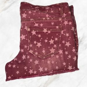 Mossimo Fit 6 Maroon Star Print Jean Shorts